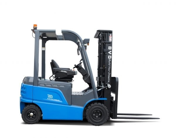 BYD ECB20 Iron Phosphate Forklift for Sale in UK, in areas like Leicester, Northampton, Nottingham, Birmingham, Derby, Warwick, West Midlands and East Midlands
