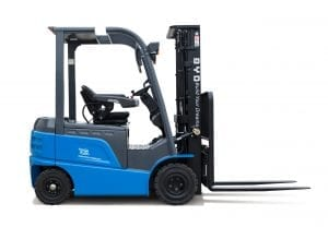 BYD ECB25 Iron Phosphate Forklift for Sale in UK, in areas like Leicester, Northampton, Nottingham, Birmingham, Derby, Warwick, West Midlands and East Midlands