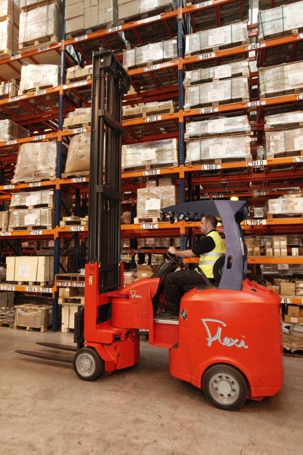 Narrow Aisle Flexi 25 Forklift for Sale in UK, in areas like Leicester, Northampton, Nottingham, Birmingham, Derby, Warwick, West Midlands and East Midlands